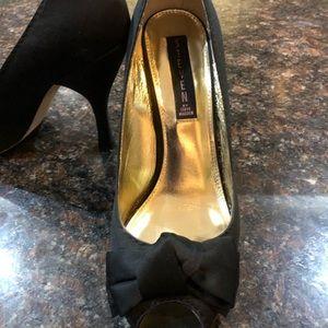 Steve Madden Dress Shoes  Black Satin Peep Toe